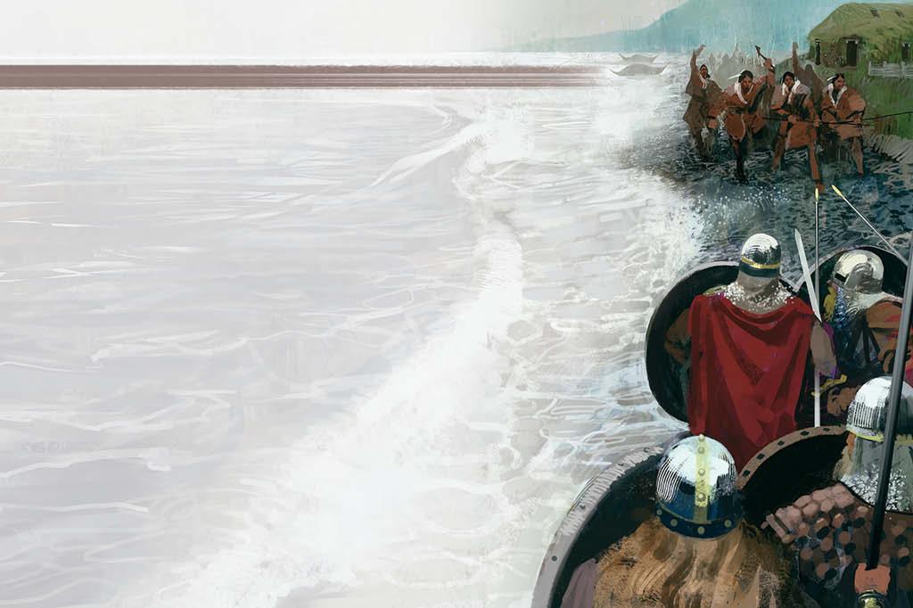 Vikings encontram índios no litoral da América do Norte. Os exploradores escandinavos estabeleceram colônias na América bem antes de os ingleses pensarem em construir um império
