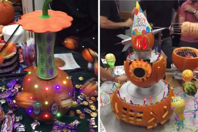 Engenheiros da nasa decoram aboboras para o halloween