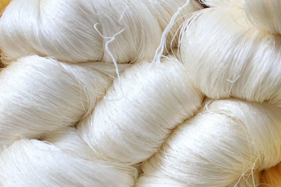 <strong>4. Enrolando</strong>  Vários filamentos, unidos pela própria sericina, formam um fio de seda. Para fazer um carretel de linha, são necessários seis ou sete casulos