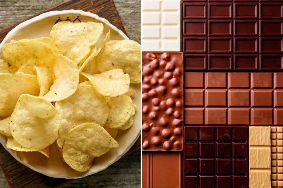 <strong>QUARTA-FEIRA:</strong> 415 cal (1 pacote de batatinhas) + 500 cal (1/2 barra de chocolate) = 915 cal