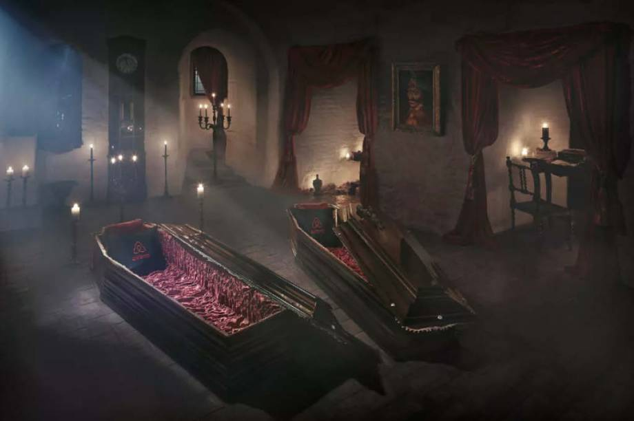 Os caixões até parecem confortáveis.