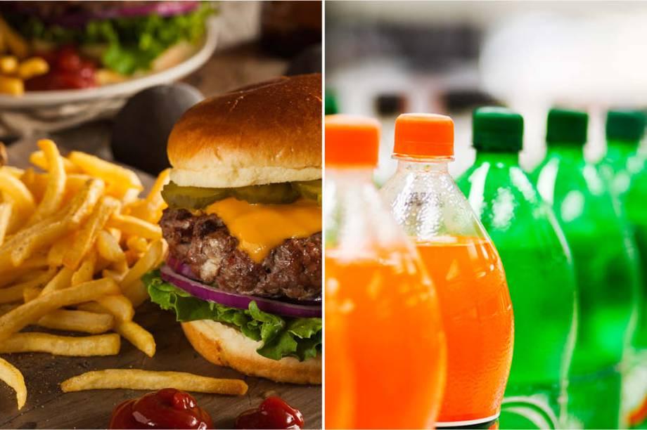<strong>SÁBADO:</strong> 916 cal (hambúrguer e batata frita) + 200 cal (1 refrigerante grande) = 1116 cal