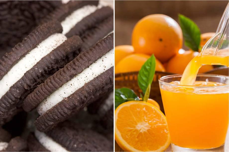 <strong>SEGUNDA-FEIRA:</strong>757 cal (1 pacote de bolachas) + 115 cal (1 suco de laranja) = 872 cal