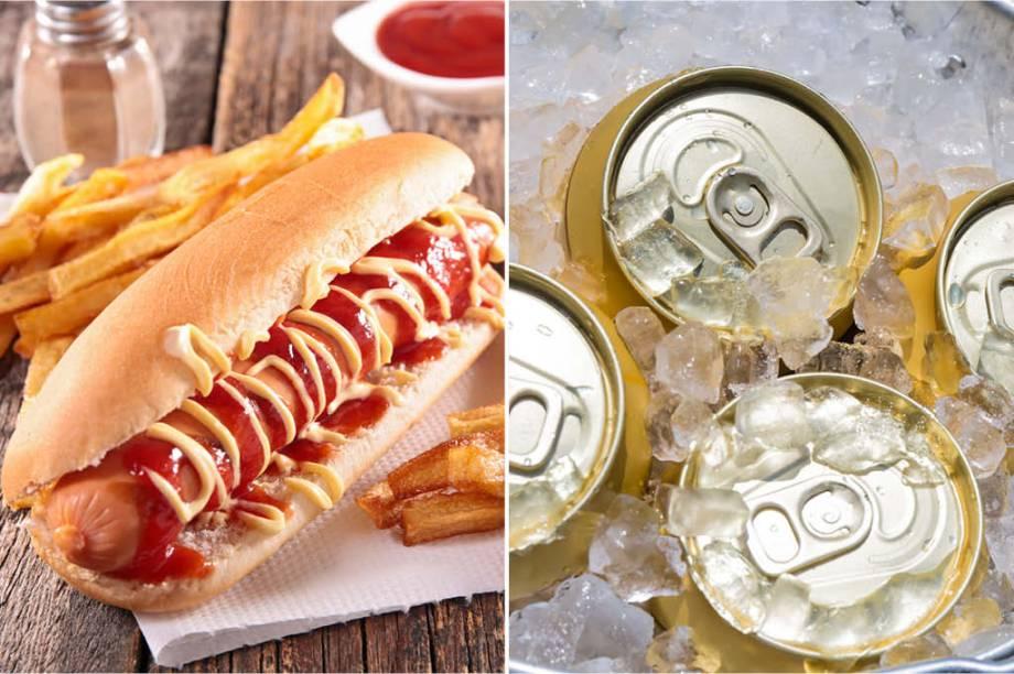 <strong>SEXTA-FEIRA:</strong> 740 cal (1 hot dog completo) + 600 cal (4 latas de cerveja) = 1340 cal