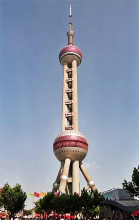 5. Oriental Pearl Tower. Inaugurada em 1995, em Xangai, na China. Tem 468 metros de altura.