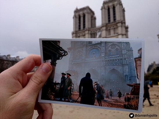 A Catedral de Notre Dame também aparece no game.  Damien Hypolite foi até lá para comparar o cenário atual com o mostrado no jogo.