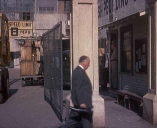Hitchcock volta e meia aparecia com instrumentos musicais. Em <i>Um Corpo que Cai</i>, o diretor carrega uma capa para trompete. Veja em 0:11:40