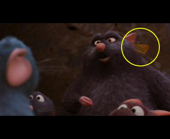 E em Ratatouille (2007), na etiqueta de um camundongo.