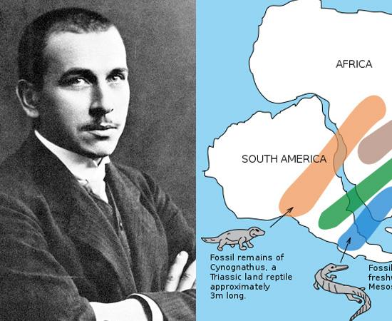DERIVA CONTINENTAL (1915) - Foi uma teoria escrita pelo geógrafo e meteorologista alemão Alfred Weneger. Ela descrevia a origem dos atuais continentes, que teriam surgido a partir de Pangeia, uma grande massa de terra inicial.