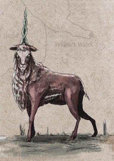 Na saga de GeorgeR. R. Martin, unicórniosnão são belos cavalosbrancos com um chifrena testa. Eles se parecemmuito mais com bodes deum só corno. Acredita-seque essas criaturasvivam na Ilha Skagos,no norte de Westeros.