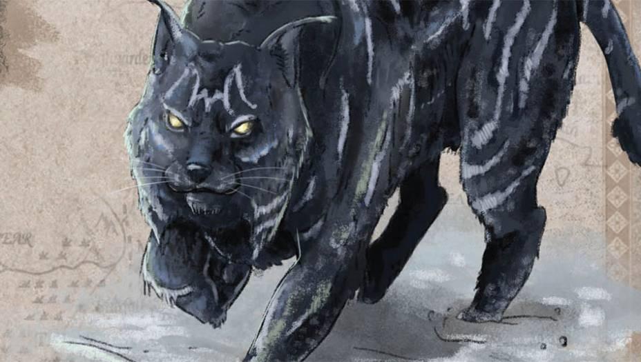Gato-das-sombras é um grandefelino que habita as terrasalém da Muralha e as Montanhasda Lua. Maior do que um tigre,sua pele -muito valorizada -énegra com listras brancas. Sentecheiro de sangue a quilômetrosde distância e tem o hábito dearrebentar os ossos das presaspara se lambuzar com o tutano.