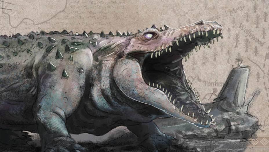 Lagartos-leões são grandes répteis (provavelmentesemelhantes a crocodilos) que habitampântanos e são frequentementeencontrados no Gargalo. Seus dentessão afiados e ele é capaz de secamuflar, assumindo cor e texturade toras que flutuam na água.