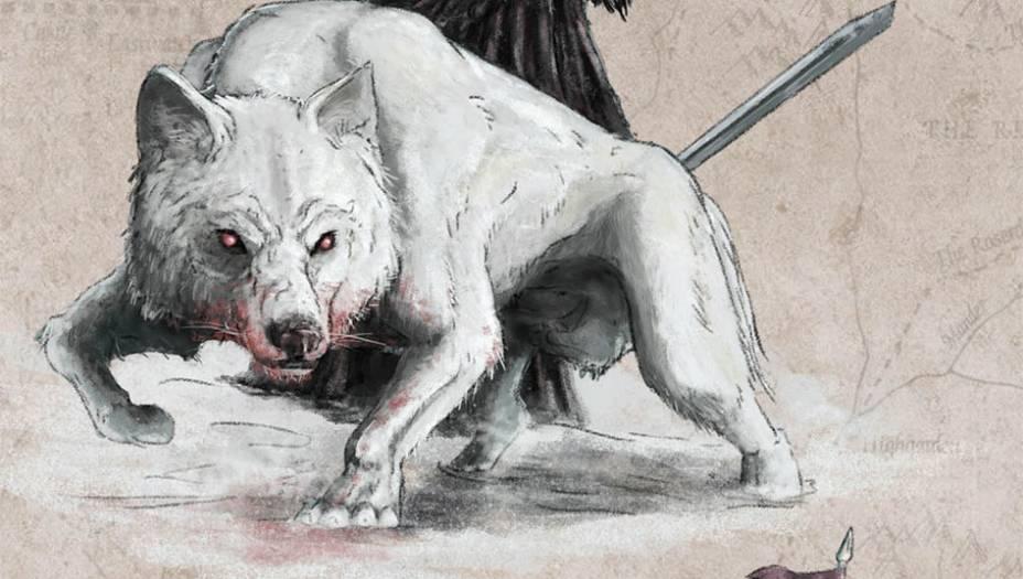 Raros ao sul da Muralha, os lobos gigantessão muito maiores e maisfortes que os lobos tradicionaise servem de símbolo para a casaStark. Os lobos gigantes podematingir o tamanho de um pônei e foram baseados em uma espéciepré-histórica. O <em>Canis dirus</em> davida real tinha 1,5 metro de alturae foi extinto cerca de 10 milanos atrás. No começo da saga,cada flho de Ned Stark adotouum flhote de lobo gigante.