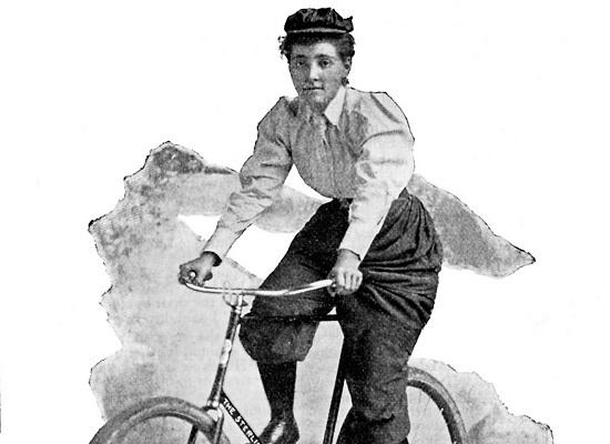 Annie Londonderry foi a primeira mulher a dar uma volta ao mundo de bicicleta. Durante o trajeto, ela desenvolveu formas de conseguir patrocinadores, o que faz dela também uma pioneira do marketing pessoal.