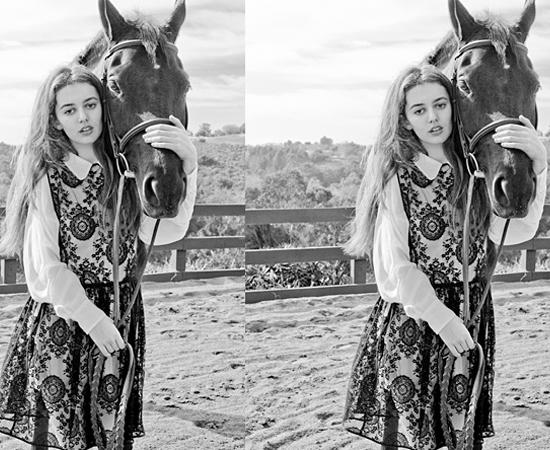 O editor cortou metade do cavalo que aparece nesta montagem de um site de moda.