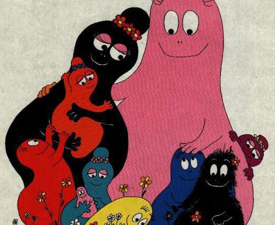 """Barbapapa (1973). É um desenho animado sobre os integrantes uma família que têm a forma de """"joão-bobo""""."""