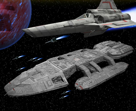 Battlestar Galactica é uma nave espacial que carrega os humanos remanescentes do planeta Caprica. Ela pode viajar na velocidade da luz. A outra nave mostrada acima dela é um Viper (veículo de batalha).