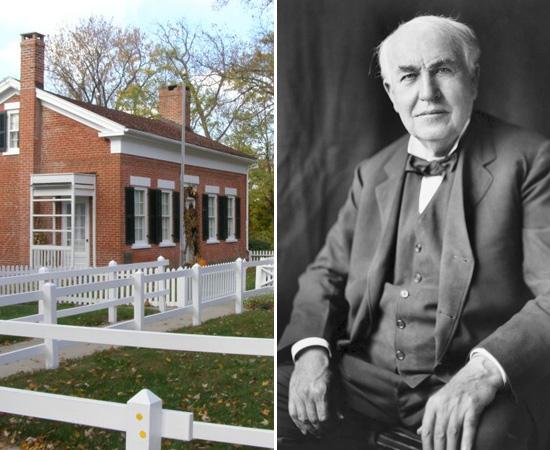 NASCIMENTO - Thomas Alva Edison nasceu no dia 11 de fevereiro de 1847. Ele vivia nesta casa de classe média da pequena cidade de Milan, em Ohio, EUA. O local, hoje, é um museu sobre a vida do inventor.