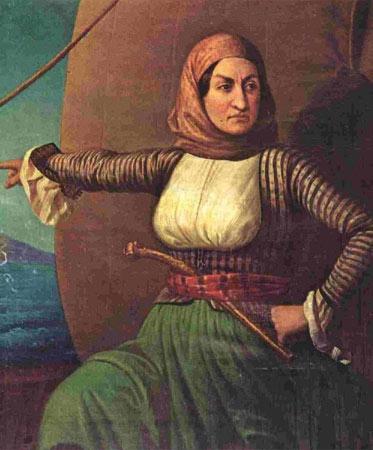 A história de Laskarina Bouboulina é das mais interessantes: ela nasceu em 1771 numa prisão, na antiga Constantinopla (atual Istambul). Ela era a única mulher de uma organização secreta que lutava pela independência grega do Império Otomano.