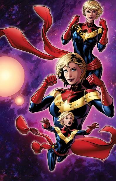 Primeira heroína da Marvel a ganhar um filme solo (que sai em 2019), Capitã Marvel é outra com ilustração deEmanuela Lupacchino