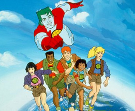 Capitão Planeta (1990) é um desenho animado sobre um super-herói preocupado com o meio ambiente.