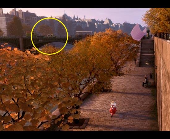 Em Ratatouille (2007), também é possível encontrar a caminhonete amarela, mas de uma forma bem sutil. O utilitário está cruzando o rio Sena à esquerda.