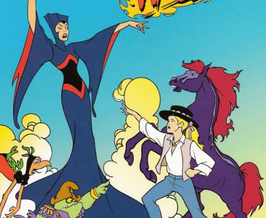 Cavalo de Fogo (1986) é um desenho animado que conta a história de uma princesa que perdeu a família (e o direito ao trono). Ela viaja entre dimensões, montada no Cavalo de Fogo.