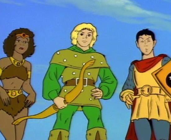Caverna do Dragão (1983) é um desenho animado sobre um grupo de crianças que fica preso na dimensão de Dungeons and Dragons, após andar na montanha-russa de um parque de diversões.