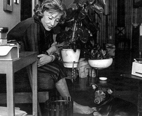 Clarice Lispector ao lado de seu cachorro Ulisses. Ela é a mais famosa escritora brasileira. Seu livro mais conhecido é A Hora da Estrela (1977).