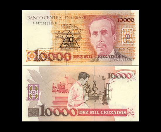 A economia era uma piada. A cédula de Cz$ (cruzado) 1 000 valia Cz$ 222 no fim do ano.