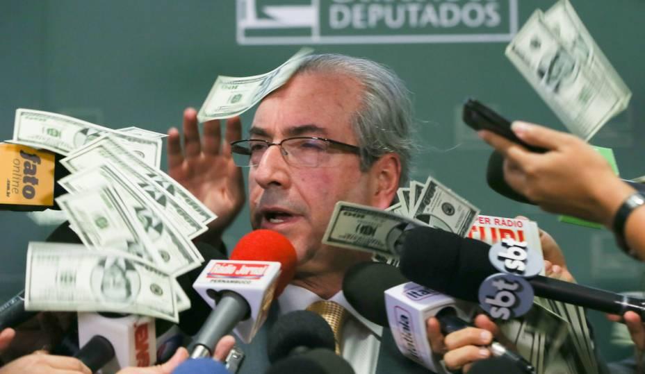 """<a href=""""http://super.abril.com.br/comportamento/7-projetos-de-lei-perigosos-que-apareceram-desde-que-cunha-assumiu-a-camara"""" target=""""_blank"""">2015 foi o ano deEduardo Cunha.</a> Não à toa:o político do PMDBé o atual presidente da Câmara dos Deputados, o terceiro nome na linha de sucessão à Presidência do Brasil. Mas os motivos que o tornaram famoso não são dos melhores: atualmente, ele é investigado por possíveis recebimentos de propina e por contas secretas na Suíça que acumulam pelo menos US$ 2,4 milhões, aproximadamente R$ 9,13 milhões.Em novembro, o militanteTiago Ferreira Pará, de 26 anos, jogounotas falsas de 100 dólares em Cunha, enquanto eledava entrevista coletiva. Omilitante também gritou:""""Trouxemos tua encomenda da Suíça, Cunha!"""""""