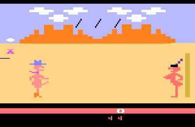 <i>Custers Revenge</i> é talvez o jogo mais polêmico lançado para o sistema Atari. No game, o jogador precisa se desviar de flechas de índios para alcançar e estuprar uma mulher, também índia.