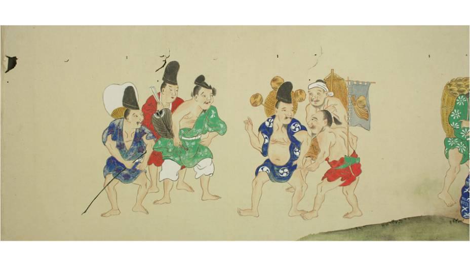 Na primeira imagem do pergaminho, que é uma espécie de HQ longa, os japas planejam o ataque fedido. E a partir daqui, a coisa fica fedorenta…