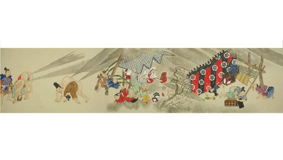 Aqui, dá para ter uma ideia da cronologia do Hen Gassen: essas são as últimas ilustrações do pergaminho, que mostram o ataque final e fatal dos japas. Placar: Japão 7, Europa 1.