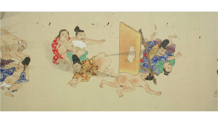 Nenhuma proteção é suficiente contra os peidos nipônicos. Repare na cara das pessoas à esquerda: o cheiro parece ~intenso~.