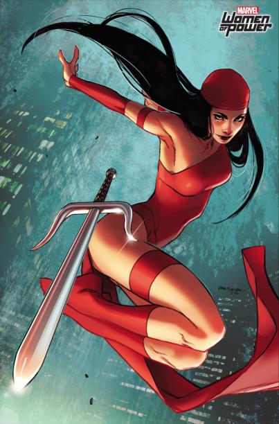 Elektra é uma das maiores personagens da Marvel, com papel indispensável nas HQs do Demolidor. por esse motivo,Sara Pichelli colocou ela na capa da quinta edição do gibi do herói cego