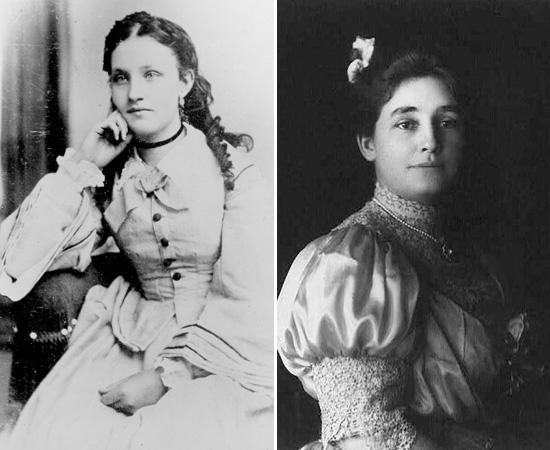 CASAMENTOS - Thomas Edison se casou em 1871 com Mary Stilwell (esquerda), que tinha 16 anos de idade. Eles se conheceram dois meses antes da cerimônia. O casal teve três filhos: Marion, Thomas Edison Jr. e Willian. Como Mary morreu em 1884, de causas indefinidas, Edison casou-se novamente dois anos mais tarde. A nova esposa era Mina Miller (direita), filha do inventor Lewis Miller. O casal também teve três filhos: Madeleine, Charles e Theodore.
