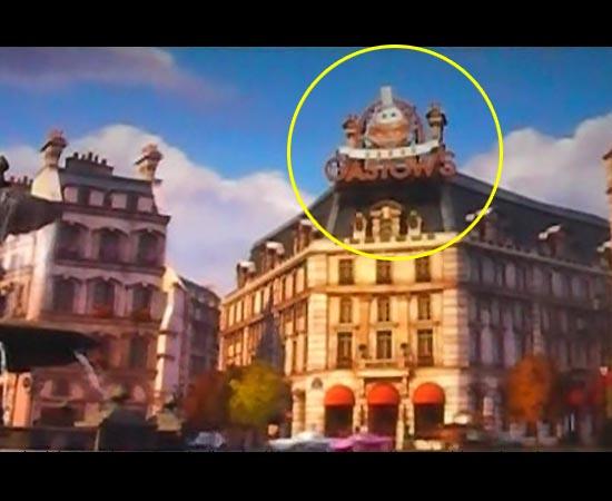 No filme Carros 2 (2011), há uma brincadeira com o restaurante Gusteau de Ratatouille (2007).