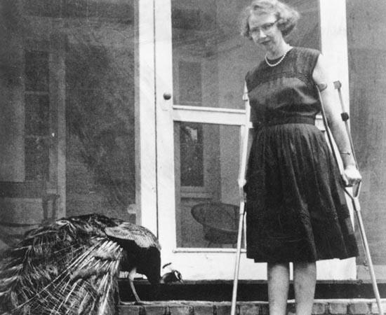 Flannery O'Connor posa ao lado de um dos seus queridos pavões. Ela é uma das mais famosas autoras americanas.  Escreveu Sangue Sábio (1952) e O Céu É Dos Violentos (1960).