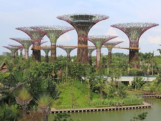Cingapura já parece um lugar de outro mundo há anos, mas recentemente a cidade-Estado se superou. Inaugurado em 2012, o Gardens by the Bay (Jardins da Baía) é um complexo de estufas e jardins. Esse imenso jardim botânico futurista faz parte da estratégia do governo local para deixar a cidade ainda mais verde.