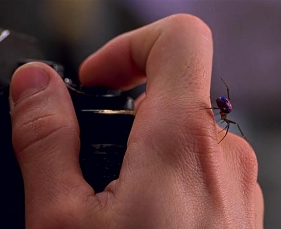 No filme Homem-Aranha (2002), dirigido por Sam Raimi, Peter Parker (Tobey Maguire) é picado por uma aranha geneticamente modificada e ganha superpoderes.