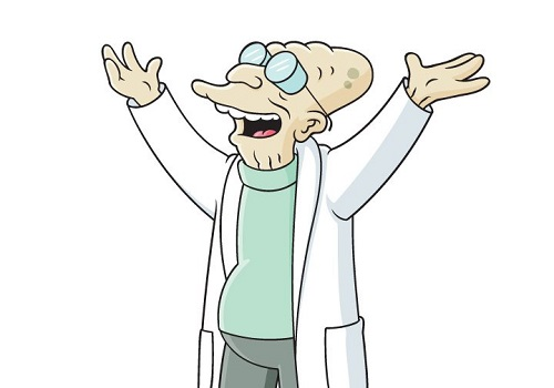 A série animada <i>Futurama</i> também tem seu cientista: é o professor Hubert J. Farnsworth.