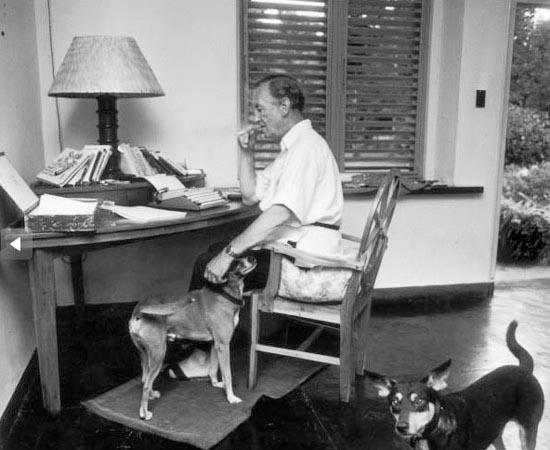 Ian Fleming e seus cachorros. O escritor britânico ficou famoso por escrever a série de James Bond.