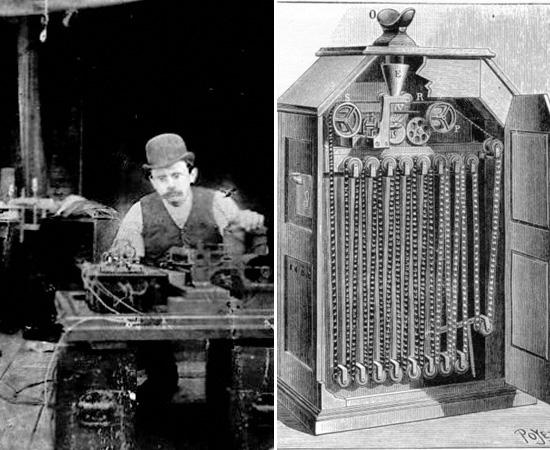 CINETOSCÓPIO - A ideia inicial de criar um dispositivo que exibisse imagens em movimento foi de Thomas Edison, mas foi um de seus funcionários (William Kennedy Laurie Dickson) que desenvolveu o projeto. A primeira apresentação pública do equipamento ocorreu em 1891 e os primeiros filmes comerciais foram feitos em 1893, em um estúdio improvisado nos fundos do laboratório de Edison.