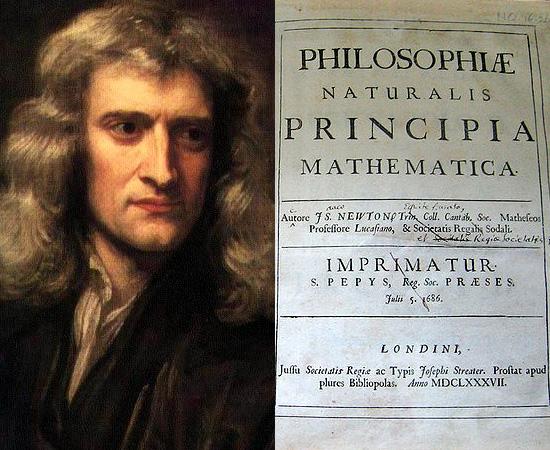 LEI DA GRAVITAÇÃO UNIVERSAL (1687) - Isaac Newton, físico inglês, descreveu a força fundamental de atração que age entre todos os objetos por causa de suas massas na obra Philosophiae Naturalis Principia Mathematica.
