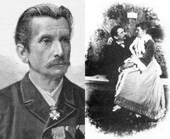Já o termo masoquismo surgiu a partir de Leopold von Sacher-Masoch (foto), um jornalista e escritor austríaco do século 19, mais conhecido pelo conto Vênus em Peles (1869). Nesta obra, o autor descrevera várias fantasias sexuais, incluindo a da mulher dominante - fetiche que gerou muita polêmica na sociedade machista da época. Obcecado pelo prazer obtido pela submissão, Leopold chegou a assinar um contrato para que ele se tornasse o escravo sexual de sua esposa, Aurora Rumelin (a mulher da foto acima é outra esposa), durante seis meses.