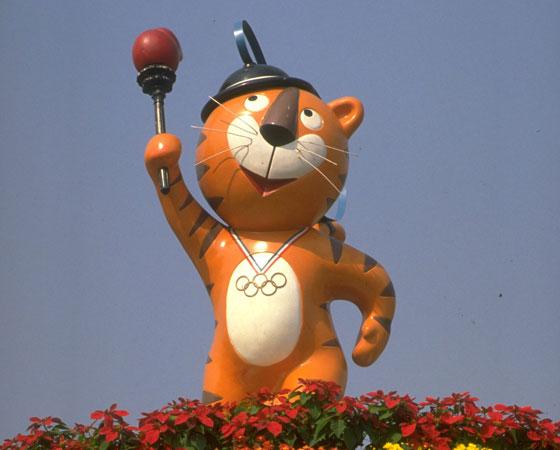 ´Hodori´ - Jogos Olímpicos de Seul (1988): Para esta edição dos Jogos foram criados dois mascotes, Hodori e Hosuni. Apesar disso, o tigre Hodori (na foto) se tornou muito mais popular. O animal aparece em diversas lendas coreanas, o que talvez explique tamanho sucesso.