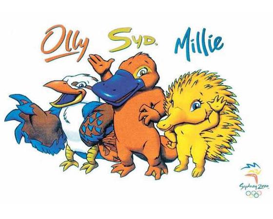 ´Olly, Syd e Millie´ - Jogos Olímpicos de Sydney (2000): Os três mascotes criados por Matthew Hatton representavam animais típicos da Austrália. ´Olly´, uma ave kookaburra, representa a generosidade universal e teve o nome baseado na palavra Olimpíada. ´Syd´, um ornitorrinco, ganhou esse nome para homenagear a cidade-sede dos Jogos e representa a energia dos australianos. Já ´Millie´, um tipo de tamanduá espinhoso, foi inspirado na palavra Millennium.
