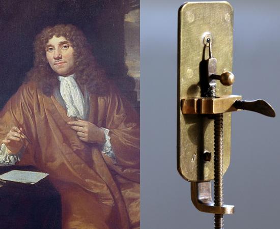 MICROSCÓPIO (1683) - O cientista holandês Antoin van Leeuwenhoek não inventou o instrumento, mas o aperfeiçoou e realizou grandes descobertas para a biologia celular. Foi o primeiro estudioso a descrever fibras musculares e microorganismos, como bactérias e protozoários.