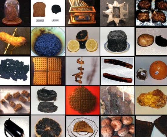 O Museu da Comida Queimada, fundado por Deborah Henson-Conant, é a prova de que coleções podem ser levadas bastante a sério. Ela, que também é cantora, incentiva que todo mundo comece sua própria coleção de alimentos carbonizados